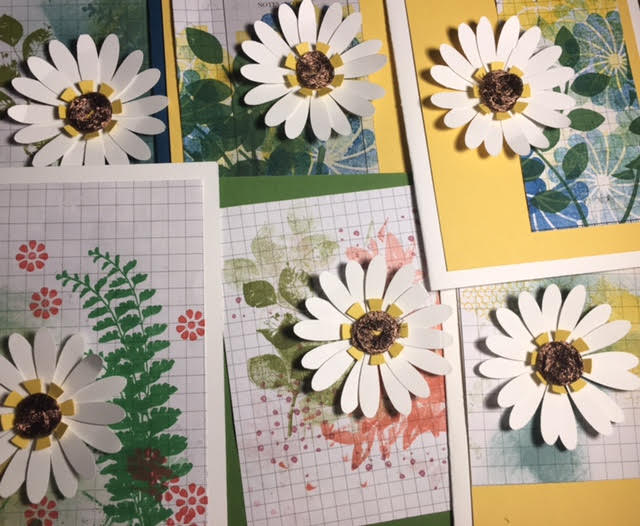 Daisy Cards with Scrap Backgrounds
