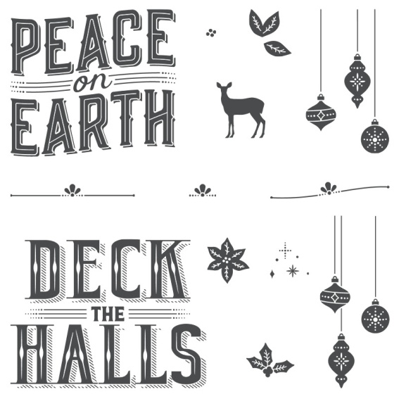 Picture of photoploymer stamp set that includes two large sentiments that say: Peace on Earth and Deck the Halls. Also includes ornaments, a deer, leaves, holly leaves, stars, and a poinsettia.
