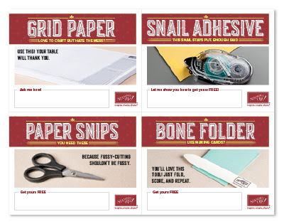 Pictured: grid paper, snail adhesive, paper snips, bone folder,