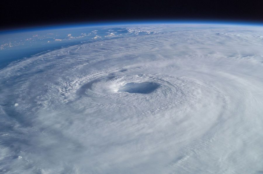 Picture of a hurricane from above