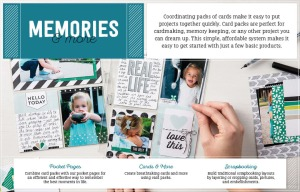 Picture that includes pocket pages with some pics, cards and scrapbooking images.