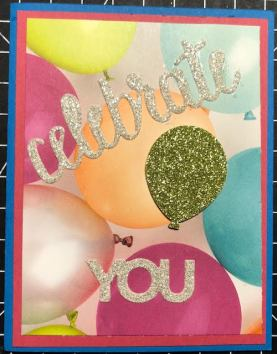 Celebrate You card with Picture Perfect Birthday DSP, Myths and Magic Glitter Paper, and Celebrate You Thinlit Dies